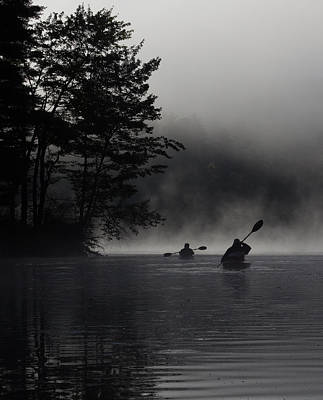 Kayaking In The Fog Art Print