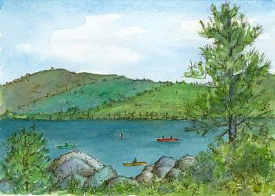 Painting - Kayaking Sand Harbor Lake Tahoe by Cathie Richardson