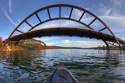 Kayaking Under Pennybacker Bridge - Austin Texas Art Print by Rob Greebon