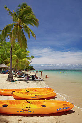 Kayaks And Beach, Shangri-la Fijian Print by David Wall