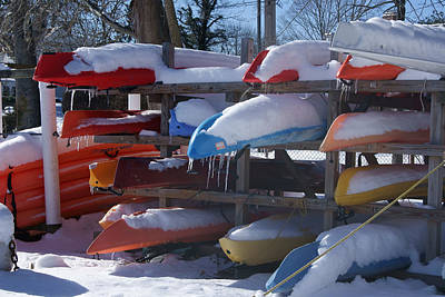 Photograph - Kayaks And Icicles by Margie Avellino