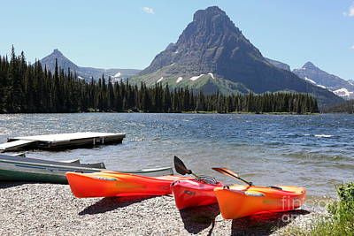 Photograph - Kayaks At Lower Two Medicine Lake by Carol Groenen