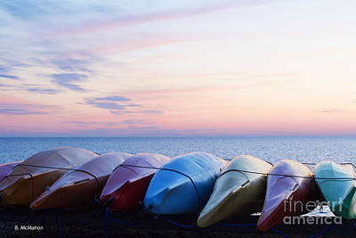 Photograph - Kayaks At Sunset by Barbara McMahon