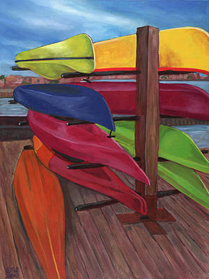 Edward Williams Painting - Kayak's At Tide Point by Edward Williams