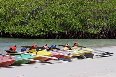 Tortuga Beach Photograph - Kayaks At Tortuga Bay, Santa Cruz by Diane Johnson