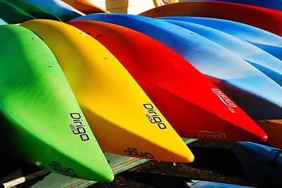Kayaks Await Art Print by James Kirkikis
