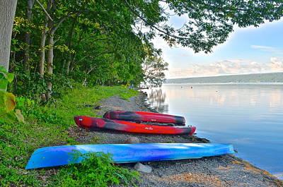 Kayaks Await Art Print