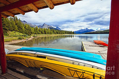 For Rent Photograph - Kayaks In A Boathouse by George Oze