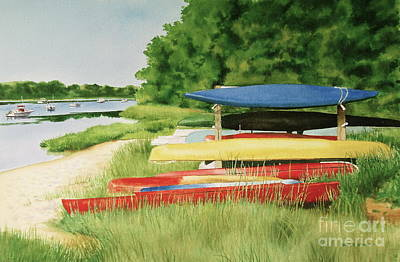 Art Print featuring the painting Kayaks In Limbo by Karol Wyckoff