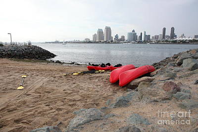 Gas Lamp Quarter Photograph - Kayaks On Coronado Island Overlooking The San Diego Skyline 5d24369 by Wingsdomain Art and Photography