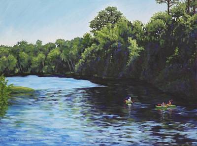 Kayaks On Rainbow River Art Print by Penny Birch-Williams