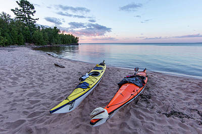 Kayak Photograph - Kayaks On Sand Beach At York Island by Chuck Haney