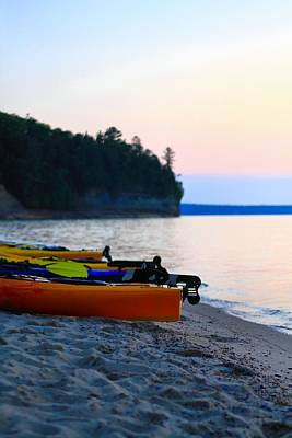Photograph - Kayaks On The Beach Of Pictured Rocks by Dan Sproul
