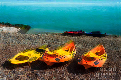 Kayaks On The Beach Original by Paul Stevens