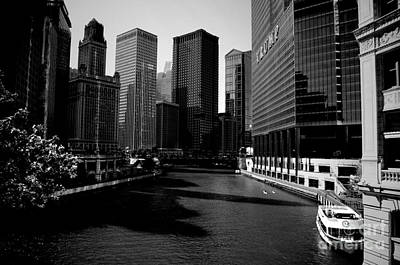 Frank J Casella Royalty-Free and Rights-Managed Images - Kayaks on the Chicago River - Black by Frank J Casella