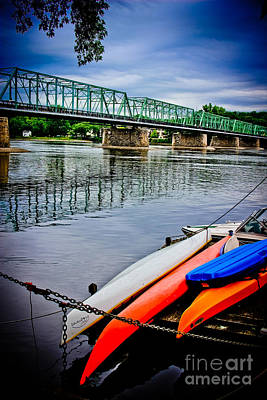 By Colleen Kammerer Photograph - Kayaks On The Delaware by Colleen Kammerer