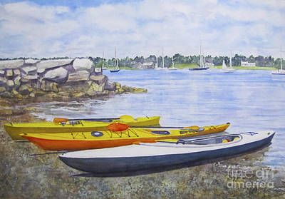 Painting - Kayaks Waiting Bristol Ri by Carol Flagg