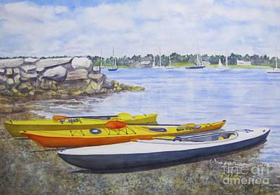 Painting - Kayaks Waiting Bristol Ri by Carol Flagg