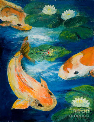 Lilly Pond Painting - Kay's Koi by Larry Martin