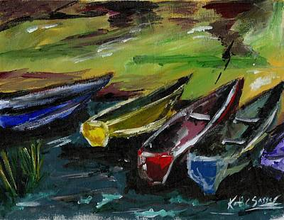 Painting - Kazinga Channel Boats by Katie Sasser