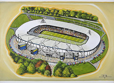 Rugby Painting - Kc Stadium - Hull City by D J Rogers