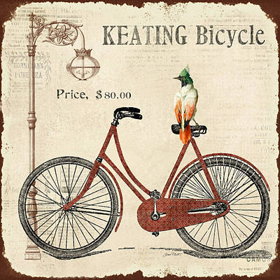 Lamp Post Digital Art - Keating Bicycle by Jean Plout