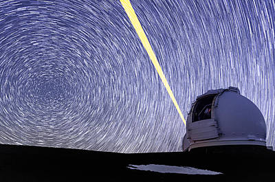 Photograph - Keck Laser And Polaris Star Trails by Jason Chu