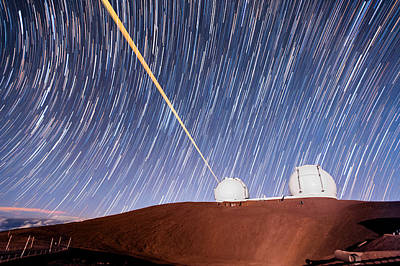 Photograph - Keck Star Trails In Moonlight by Jason Chu