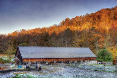 Autumn Scene Photograph - Kedron Valley Farm - Woodstock Vt by Joann Vitali