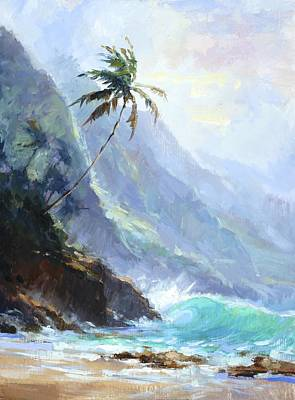 Tree Oil Painting - Ke'e Beach by Jenifer Prince