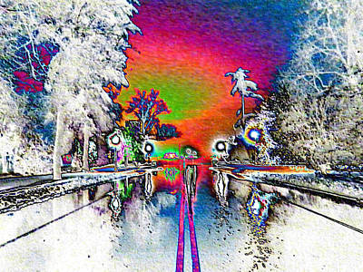 Keeneland Entrance In Neon Art Print by Christopher Hignite