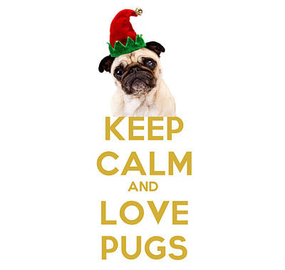Pug Face Painting - Keep Calm And Love Pugs by Celestial Images