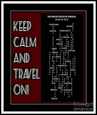 Keep Calm And Travel On United States 2 Art Print