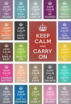 Keep Calm Classic Collage Art Print by Helena Kay