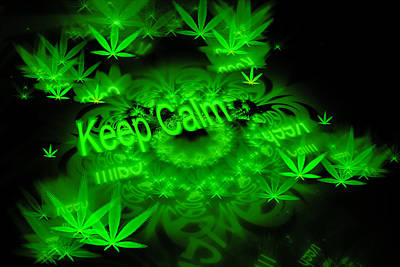 Digital Art - Keep Calm - Green Fractal Weed Art by Matthias Hauser