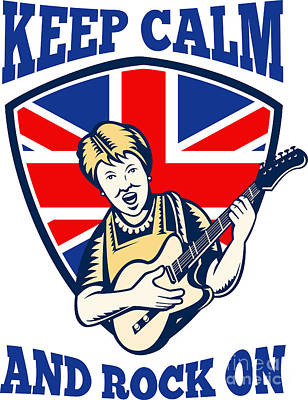 Keep Calm Rock On British Flag Queen Granny Guitar Art Print
