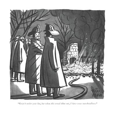 Winter Night Drawing - Keep It Under Your Hat by Peter Arno