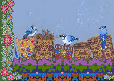 Bluejay Painting - Keeper Of Songs by Chholing Taha