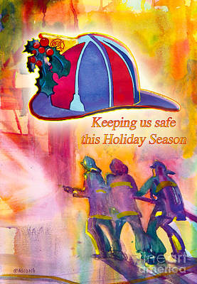 Fire Department Painting - Keeping Us Safe This Holiday Season by Teresa Ascone