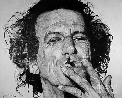 Rolling Stone Drawing - Keith Richards by Jeff Ridlen