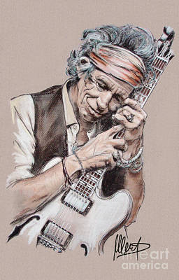 Rolling Stone Drawing - Keith Richards by Melanie D