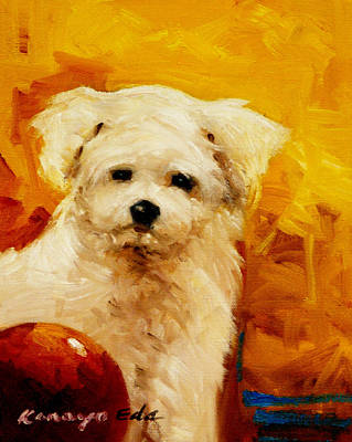Painting - Kelly - Dog Puppy Art by Kanayo Ede