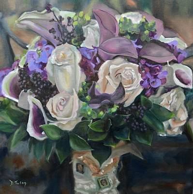 Nuptials Painting - Kelly's Bridal Bouquet by Donna Tuten