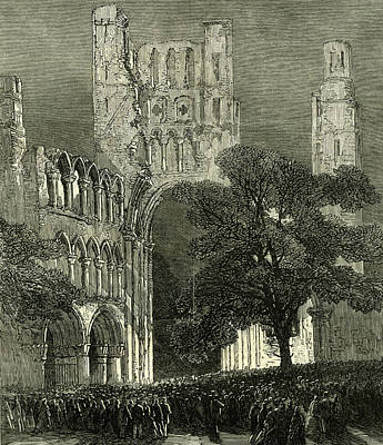 Lime Drawing - Kelso U.k. 1867 Kelso Abbey Illuminated By The Lime-light by English School