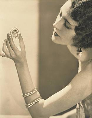 Kendall Photograph - Kendall Lee Holding A Brooch by Edward Steichen