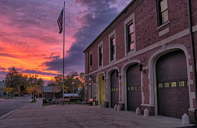 Photograph - Kenmore Fire Hall Sunset by Chris Bordeleau