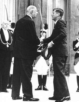Photograph - Kennedy & De Gaulle Meet by Underwood Archives