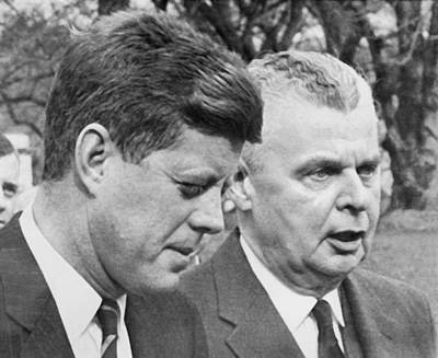 Photograph - Kennedy And Diefenbaker Talk by Underwood Archives