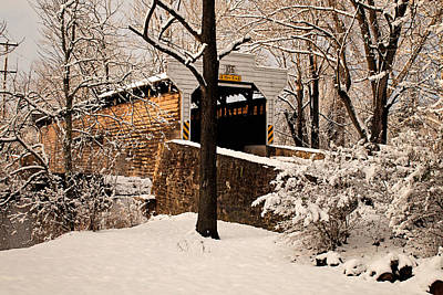 Photograph - Kennedy Covered Bridge In Winter by Michael Porchik