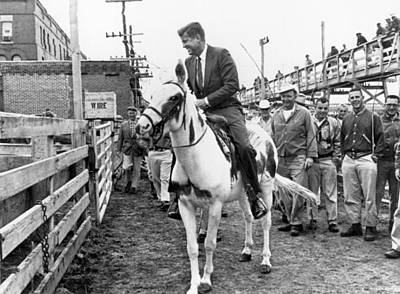 Photograph - Kennedy Rides A Mule by Underwood Archives